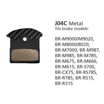 Shimano BR-M9000 METAL PAD & SPRING J04C w/FIN