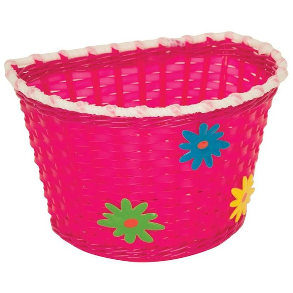 Kiddies Basket Pink with Green, Blue and Yellow Flowers
