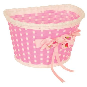 Kiddies Basket Pink and White with Strawberry Bow