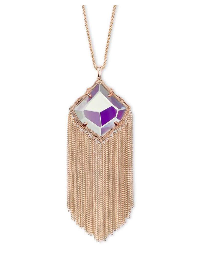 Kendra Scott Kingston Necklace in Dichroic Glass in Rose Gold