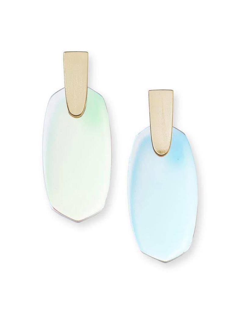 Kendra Scott Aragon Earring Gold Dichroic Glass