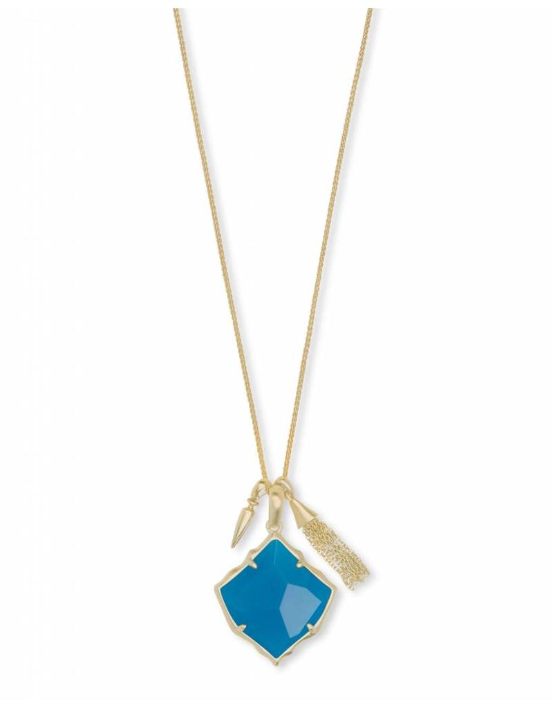 Kendra Scott Arlet Necklace in Gold Teal Unbanded Agate