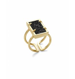 Kendra Scott Lennox Ring Gold Black Drusy M/L