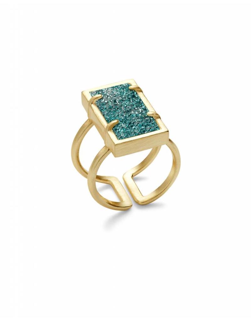 Kendra Scott Lennox Ring Gold Aqua Drusy M/L