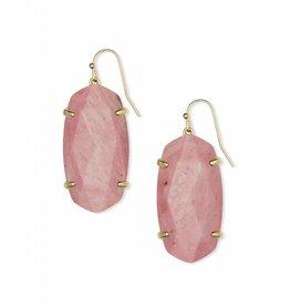 Kendra Scott Esme Earring Gold Pink Rhodonite