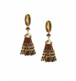 Kendra Scott Dove Earring Gold Brown Tiger's Eye