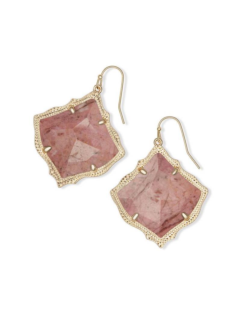 Kendra Scott Kirsten Earring Gold Pink Rhodonite