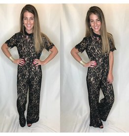 Black Lace Open Back JumpSuit