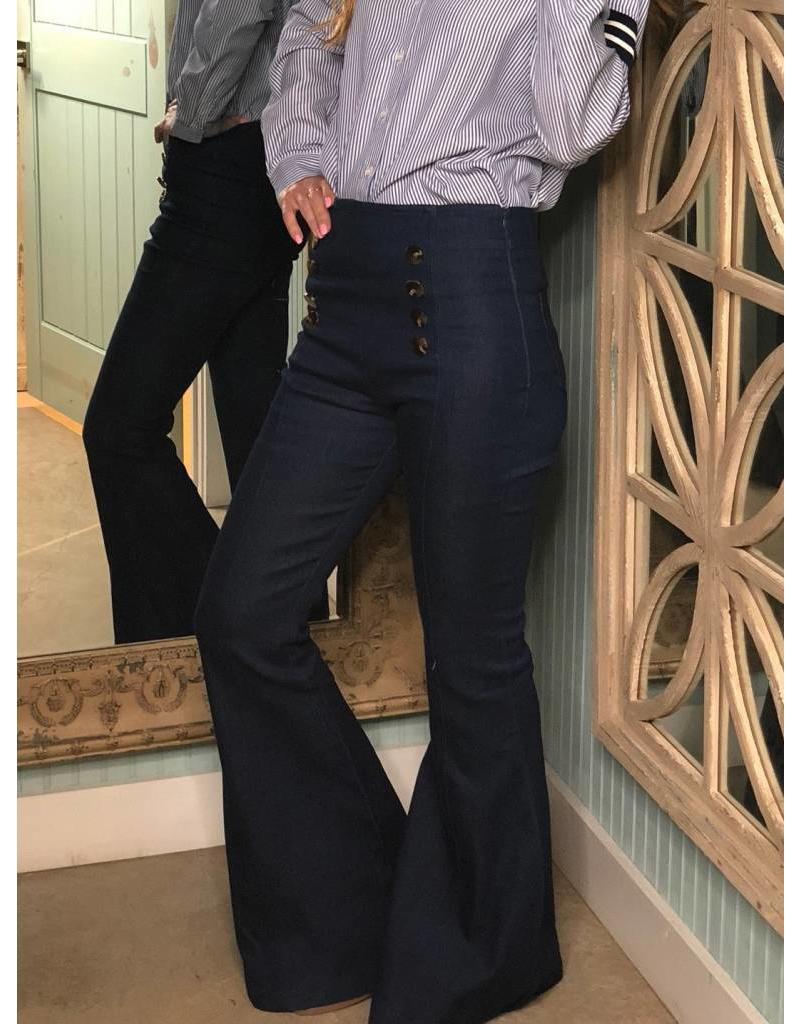 Denim Button Front Flare Jean