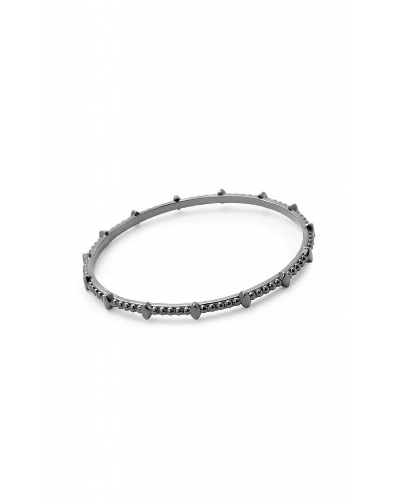 Natalie Wood Beaded Bangle in Gunmetal