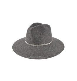 Wool Felt Hat w/ V-Pattern Beaded Trim- Grey