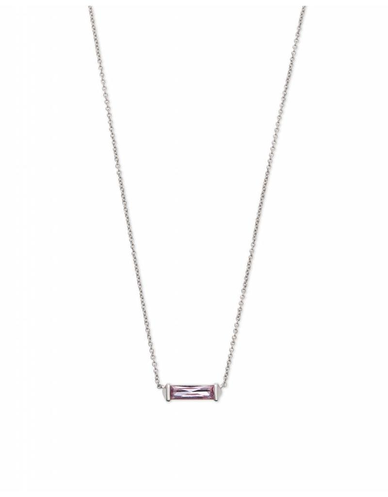 Kendra Scott Rufus Necklace Silver Lilac Crystal