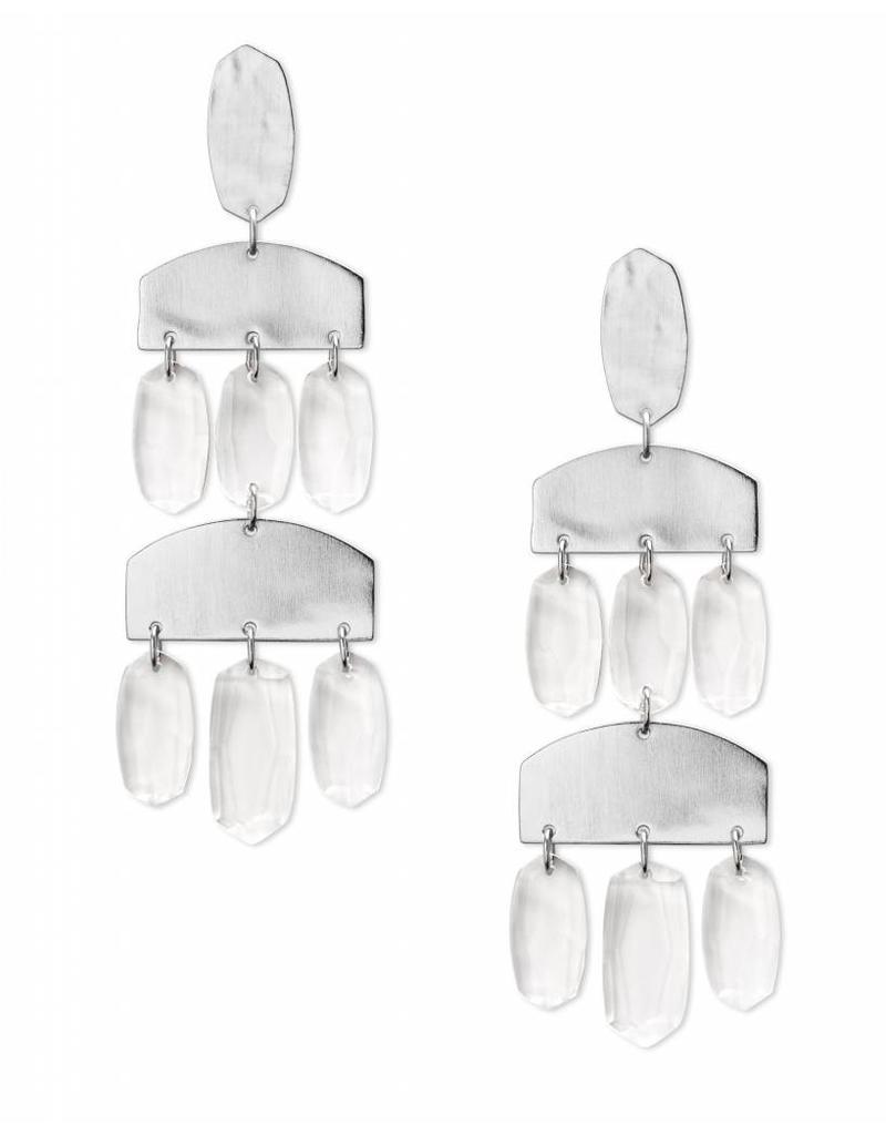 Kendra Scott Emmet Earring Silver Clear Glass