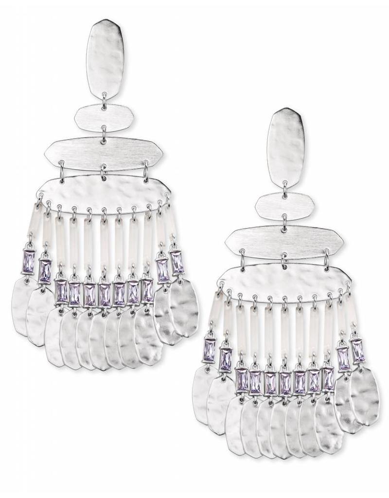 Kendra Scott Nicola Earring Silver Lilac Crystal