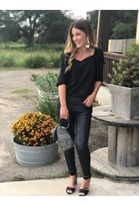Balloon Sleeve Sweetheart Top in Black
