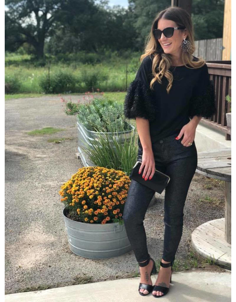Black Party Top with Sleeve Detail