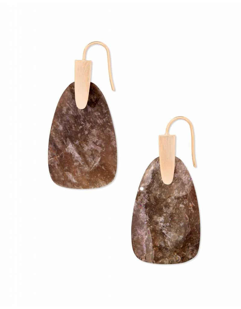 Kendra Scott Marty Earrings in Sable Mica on Rose Gold
