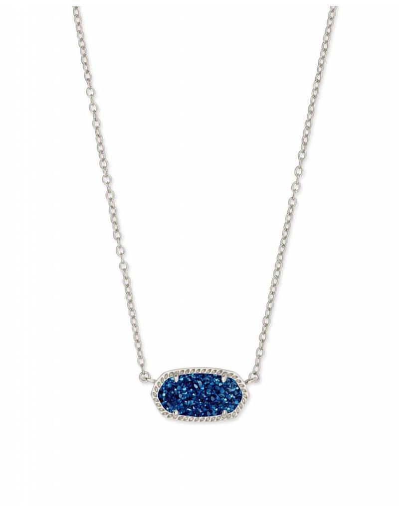Kendra Scott Elisa Necklace in Blue Drusy on Silver