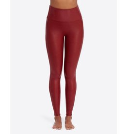 Spanx Faux Leather Leggings- Crimson