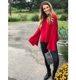 Bell Sleeve Mock Neck Sweater in Red