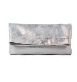 CoFi Leather Mollie Convertible Clutch - Rose Gold/White