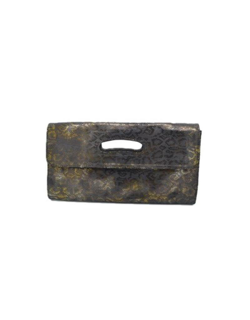 CoFi Leather Deeva Clutch - Black Sable Snake
