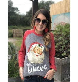 "Red/Gray ""Gotta Believe"" Long-Sleeve Raglan Tee"