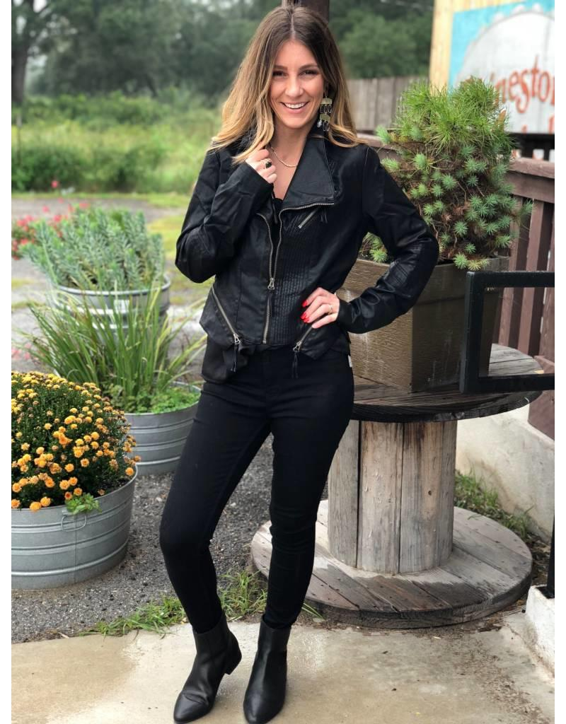 Black Faux Leather Jacket with Moto Detail