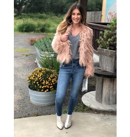 Pink Shaggy Vegan Fur Jacket