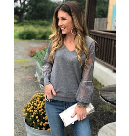Grey Lace Mesh Sleeve Sweater