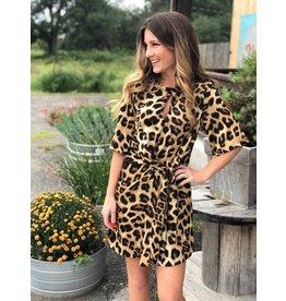 Brown Leopard Dress w/Tie
