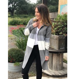 Grey & White Hooded Color Block Cardigan