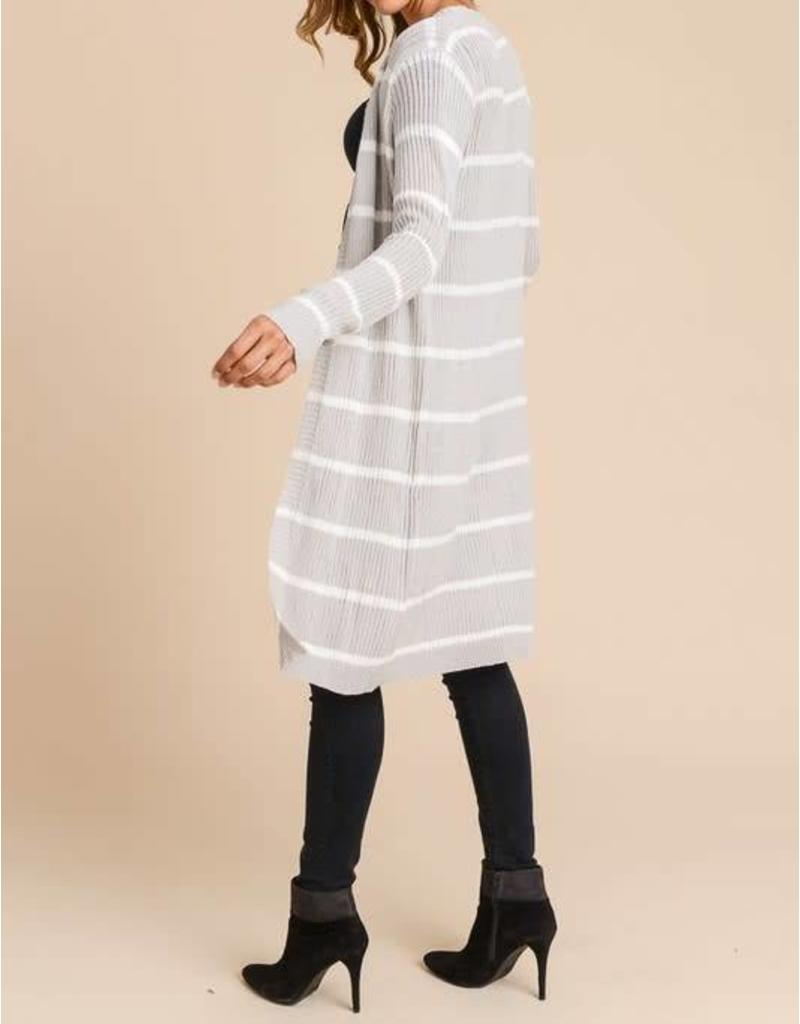 Grey & White Striped Ribbed Cardigan