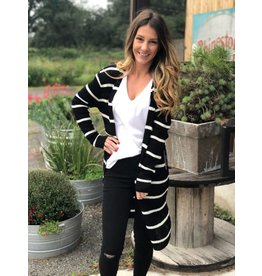 Black & White Striped Ribbed Long Cardigan