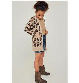 Girls Leopard Sweater Cardigan