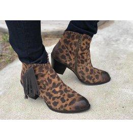 L&B Brown Leopard Fringe Booties