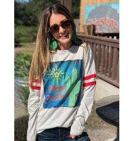 "Cactus ""Merry Christmas"" Long-Sleeve with Two Stripes Tee"