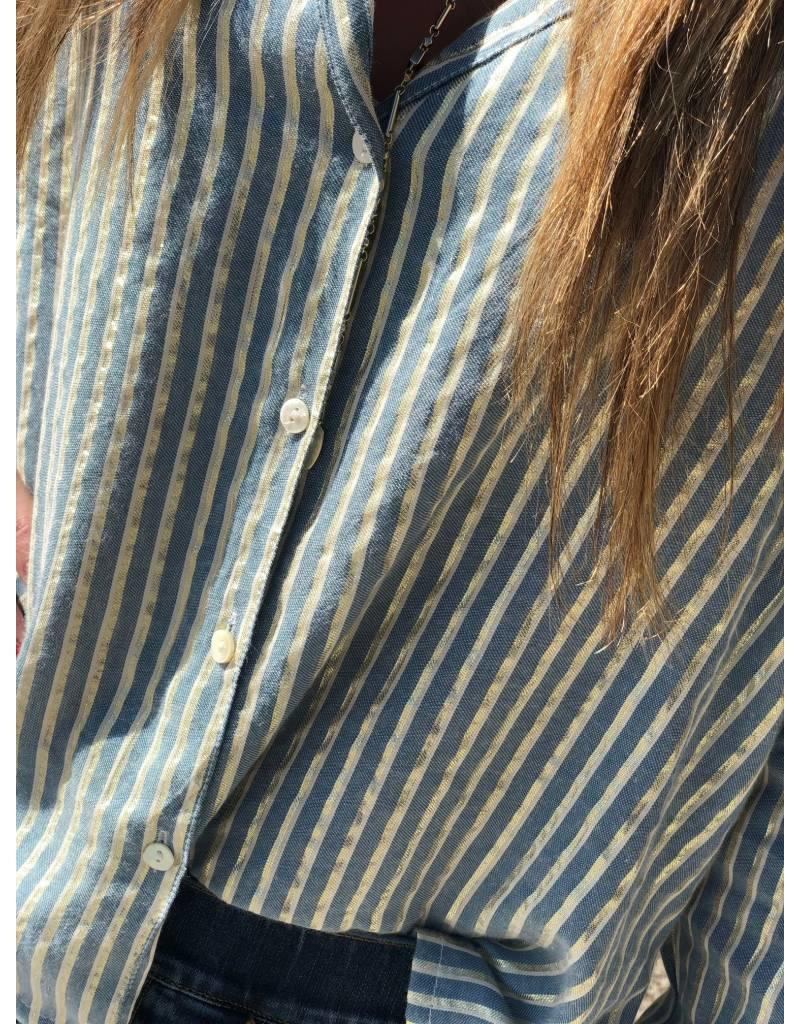 Soft Blue and Gold Striped Top