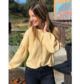 Z Supply Gathered Sleeve Top- Yellow