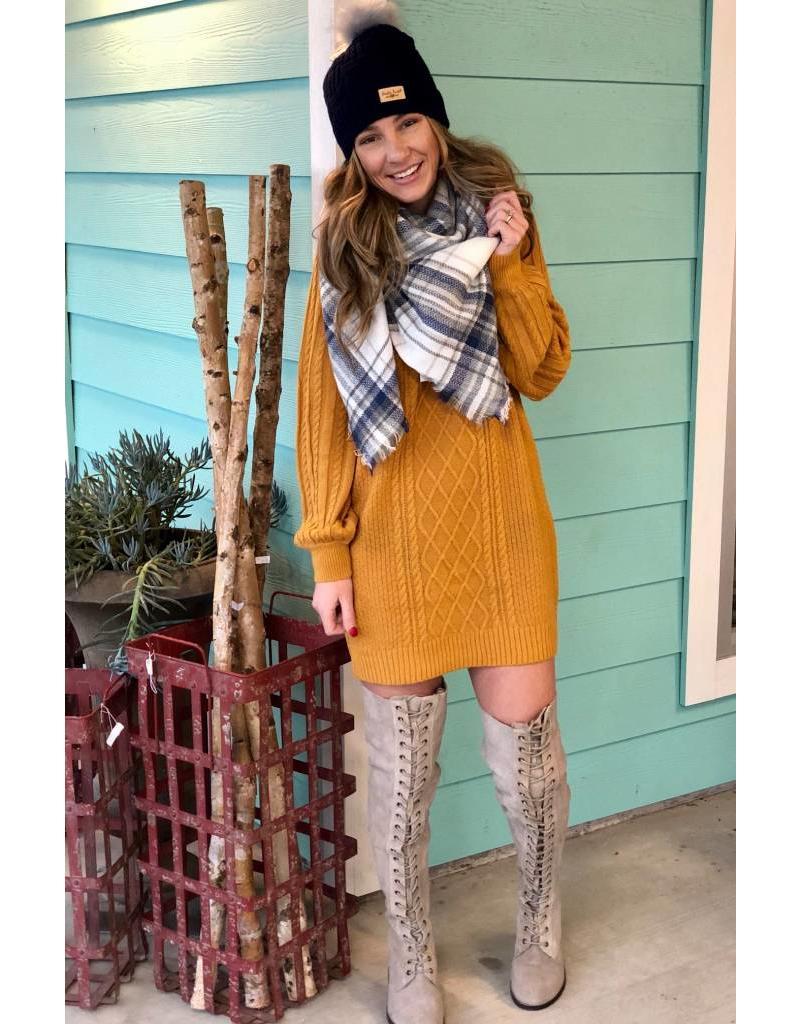 Margo Sweater Dress- Mustard
