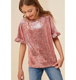 Girls Sequin Ruffle Short Sleeve Top