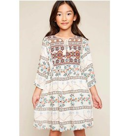Girls Tribal Print Tunic Dress - Cream Mix