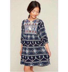 Girls Tribal Tunic Dress - Navy Mix