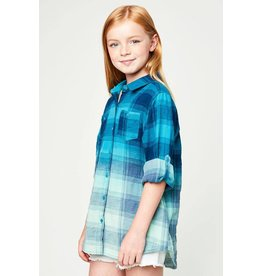 Tween Teal Ombre Plaid Shirt
