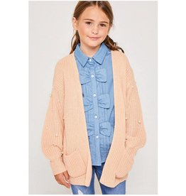 Tween Blush Pearl Cardigan Sweater