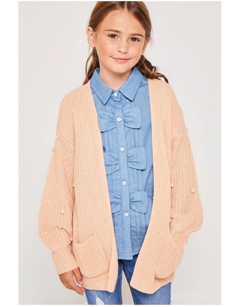Tween Blush Pearl Cardigan Sweater