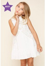 Tween Off-White Lace Mock Neck Dress