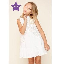 Tween Off-White Lace Mock Neck Dress