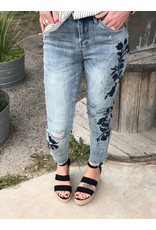 Vixen Embroidered Distressed Jeans in Light Denim