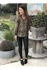 Leopard Print Long Sleeve Button Down Blouse
